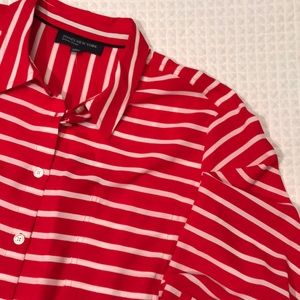 Peppermint striped tie blouse